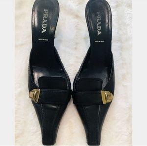 Authentic black Prada low heels w/gold buckle